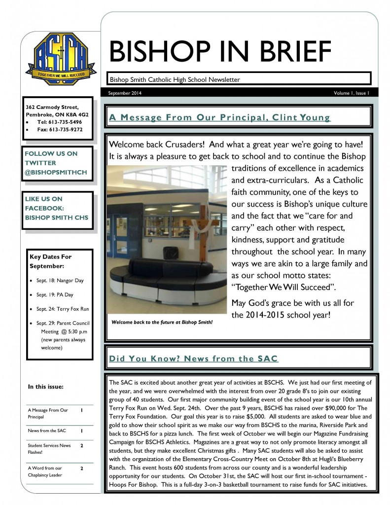 September Newsletter 20141